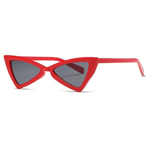 kimorn Gafas De Sol Para Mujer Bisagras De Metal Ojos De Gato Triangle Marco De Plástico K0571 (Rojo&Negro)