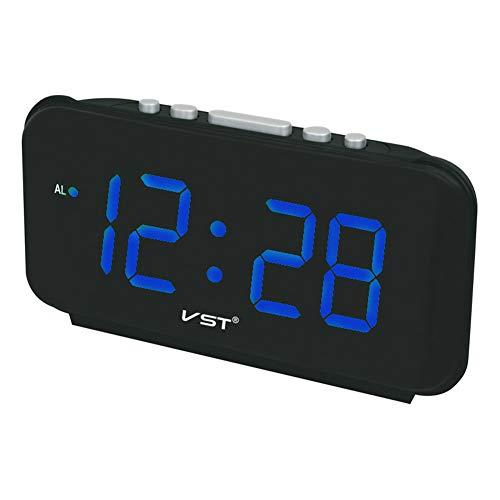 Digitale wekker, LED-indicator, 1,8 inch, voor zware slapers, gamers, kantoor, ouderen Blauw