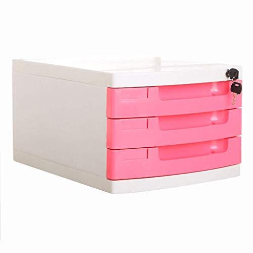 Archivadores Archivador con cerradura con llaves Caja de almacenamiento de almacenamiento de oficina de datos de 3 cajones - Archivadores multicolores para archivador 29.5X39.4X21.8cm Librería (Color: