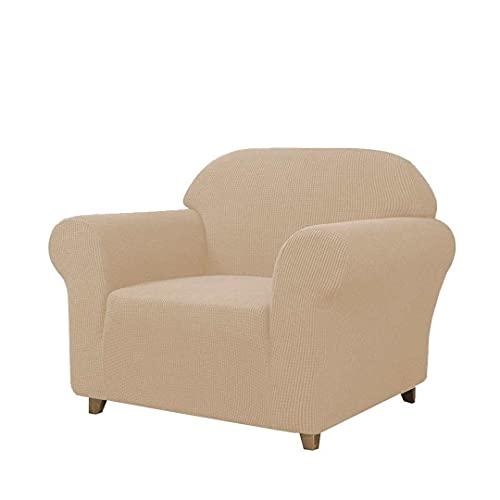 SAMSTEX Stilvoller 1-Sitzer-Sofabezug, Stretch, 1-teilig, hochdehnbar, maschinenwaschbar, rutschfeste Sofaschonbezüge für Sessel (1-Sitzer, Beige)