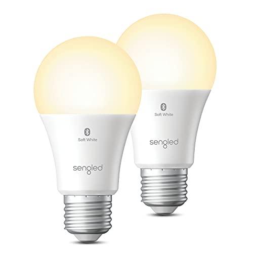Sengeld Bombillas Inteligente, Bombillas LED E27, Regulable, con Bluetooth, Compatible Alexa, Luz Blanca Cálida, 60W Equivalente 806LM 2700K, Control por Voz, Sin Necesidad de Hub, Pack de 4