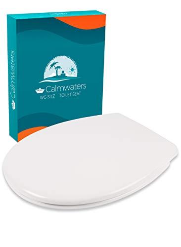 Calmwaters® WC Sitz Premium Toilettendeckel, Made in EU, antibakteriell mit Absenkautomatik, abnehmbar, O-Form Toilettensitz, Edelstahl-Befestigung, Duroplast WC-Deckel & Klo-Brille klassisch oval