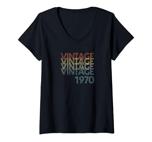 Mujer Vintage Retro Faded 1970 Groovy Colores 51st Birthday Camiseta Cuello V