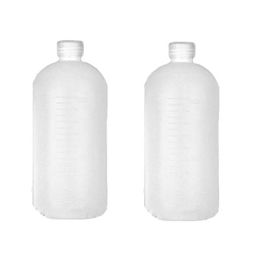 2PCS 1000ml/34oz Plastic Small Mouth Graduated Lab Chemical Reagent Bottle Sample Sealing Bottle with Inner Plug Leak-proof Laboratory Reagent Bottle Boston Rounds Liquid Storage Containers Jar Pot