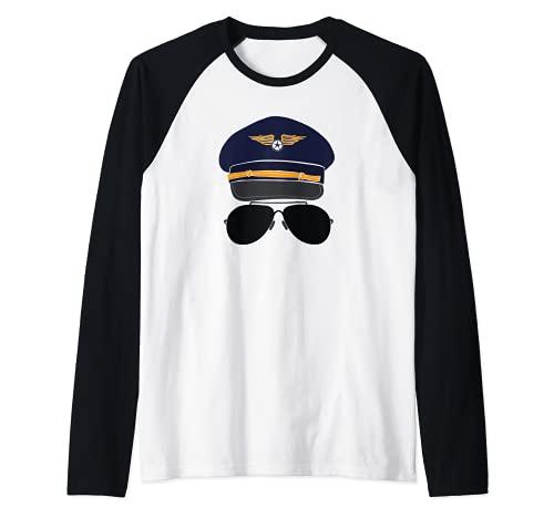 Pilot with Aviator Sunglasses Camiseta Manga Raglan