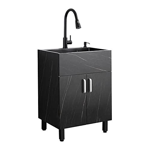 Küchenspülen Schwarze Küche 304 Edelstahlspüle Nano Küchenspüle Mit Einzeltank Und Integriertem Unterschrank Balkon-Wäschepool-Lagerschrank 2 Becken (Color : Black, Size : 50 * 45cm)