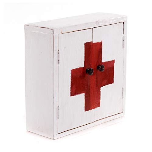 MEDIZINSCHRANK Medic 35 | 35x35x13cm (HxBxT), Mahagoni | Wandschrank im Shabby Chick Design, Arzneischrank, Erste Hilfe Schrank aus Holz | Farbe: 06 weiß-Landhaus
