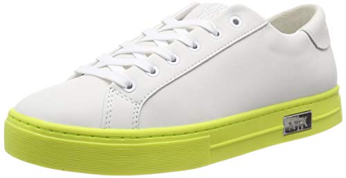 Armani Exchange Damen Cow Leather lace up Sneaker, Weiß (White+ Yellow A169), 36M EU