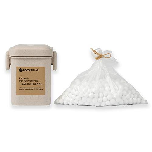 Rocksheat Kuchengewichte aus Keramik, Backbohnen, natürliche Lebensmittelqualität, Kruste und Gebäck, Utensilien mit Weizenstrohbehälter 1.3Lb|600g weiß