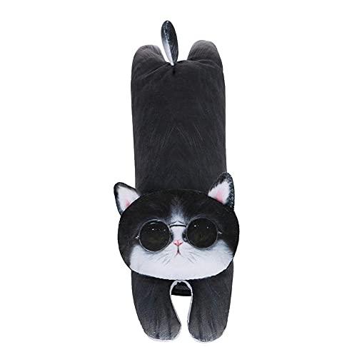 QXXKJDS Fundas para cinturón de seguridad de animales de dibujos animados, accesorios de coche, cojín de felpa para decoración personal de coche al aire libre (color : gafas de hombro de gato)