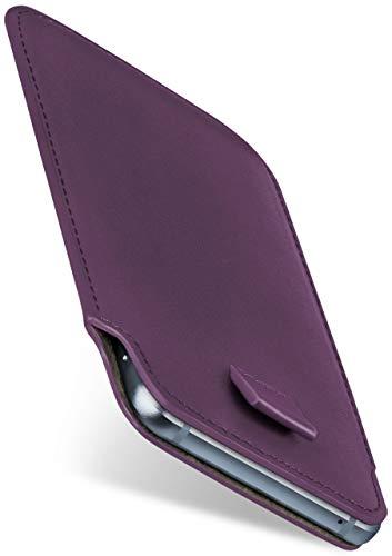 moex Slide Hülle für HP Elite x3 - Hülle zum Reinstecken, Etui Handytasche mit Ausziehhilfe, dünne Handyhülle aus edlem PU Leder - Lila