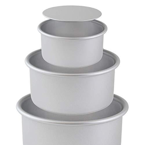 Art of Cake/PME LB RND Lot de 3 moules ronds en aluminium anodisés à fond amovible 15,2 cm, 20,3 cm, 25,4 x 7,6 cm