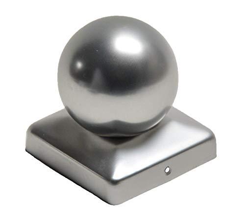 Pfostenkappe aus Aluminium mit Kugel für Pfosten 7x7 cm inkl. VA-Schrauben Zaunkappe Pfahlkappe ALU 71x71 mm DD