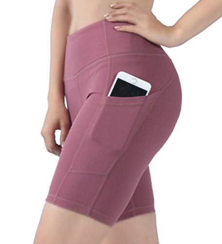JPGO Yoga Shorts for Women, Home Gym Fitness Yoga Shorts with Pockets Activewear Exercise Tight Running Cycling Shorts Non See-Through Summer Workout Short Pants Gift for Mom Pink, XL