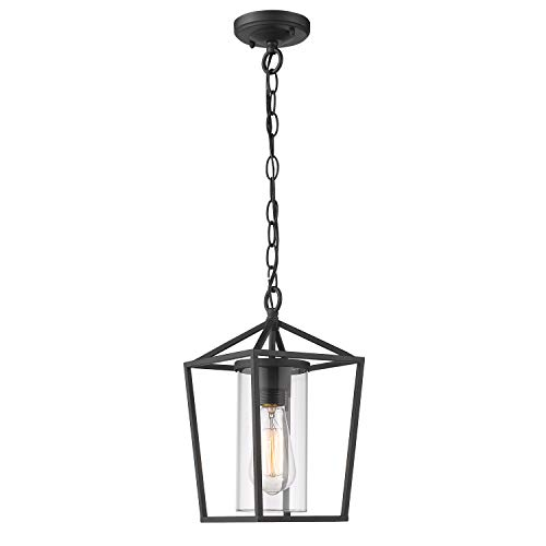 Emliviar Modern Outdoor Pendant Light, 1-Light Outdoor Hanging Lantern Light in Balck Finish with Clear Glass, 20065H BK