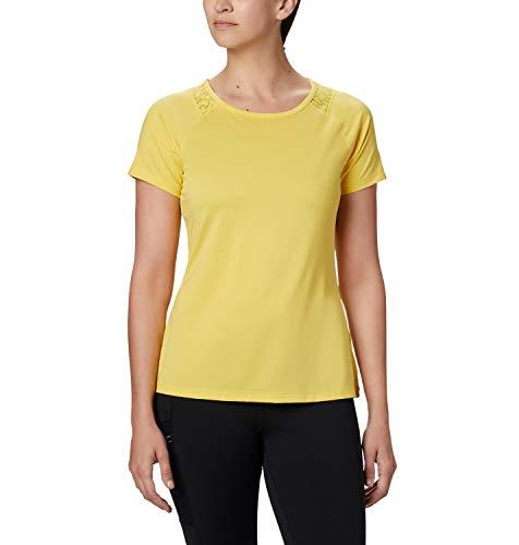 Columbia Peak To Point II Camiseta Térmica de Manga Corta, Mujer, Amarillo (Buttercup Heather), XS