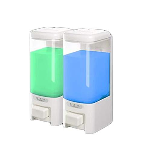 Meet's shop Dispensadores de Loción y de Jabón Dispensador de líquido 500ml Blanca Punch-líquido Libre de Botella de la Mano de baño Cocina de Pared Champú Gel de Ducha Cocina Baño