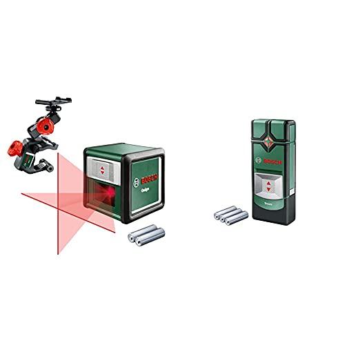 Bosch Dispositivo de localización Truvo, Profundidad máxima de detección Cable Vivo/Metal no magnético/Metal magnético: 50/60/70 mm + Quigo 3Nivel láser en Cruz (2 Pilas de 1.5 V AAA, Pinza MM2)