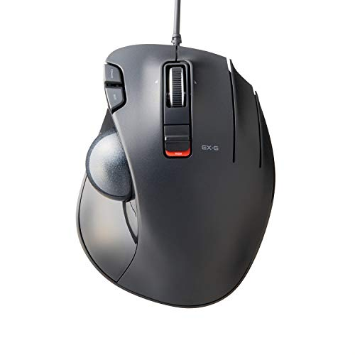 ELECOM-Japan Brand- Wired Trackball Mouse Thumb Operated Model, Ergonomic Grip, Tilt Function, 6 Buttons, Black/M-XT3URBK