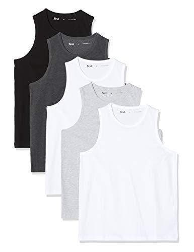 Marca Amazon - find. Camiseta de Tirantes con Cuello Redondo Hombre, Pack de 5, Multicolor (Wht/Blk/Gry/Char), XL, Label: XL