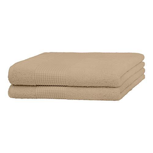 Merana Juego de toallas | absorbentes, suaves y sin pelusas | Toallas de mano de rizo de calidad de algodón orgánico pesado 590 GSM (Desert Sand, 2 toallas de ducha (70 x 140 cm)