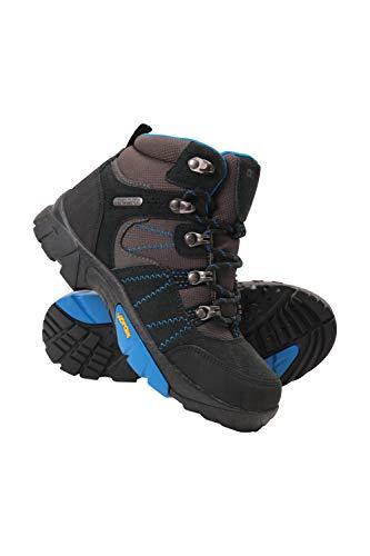 Mountain Warehouse Edinburgh Vibram Youth Wasserfeste Kinder Stiefel - Atmungsaktive, leichte Wanderstiefel, Netzfutter, strapazierfähige Regenstiefel. Wanderschuhe Blau Kinder-Schuhgröße 37 DE
