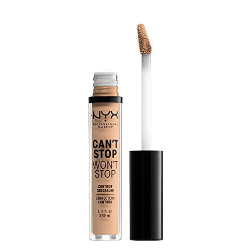 NYX Professional Makeup Can't Stop Won't Stop Contour Concealer - wasserfester flüssiger Abdeckstift, Kaschieren & Highlighten, 3,5 ml, Natural 07