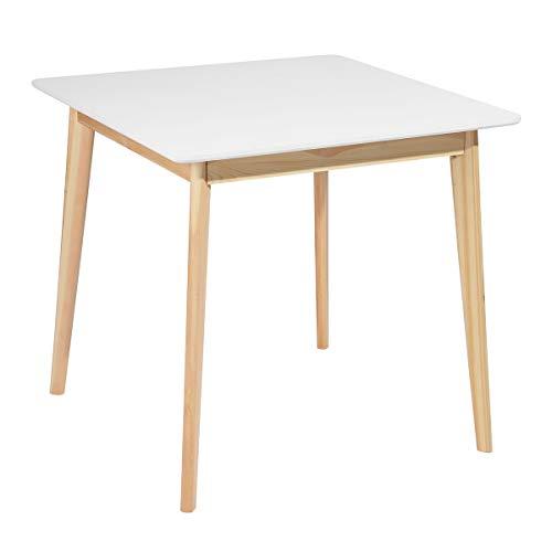 HOMYCASA Tavolo quadrato moderno tavolo da pranzo 80 cm cucina sala da pranzo mobili per 4 persone (legno bianco)
