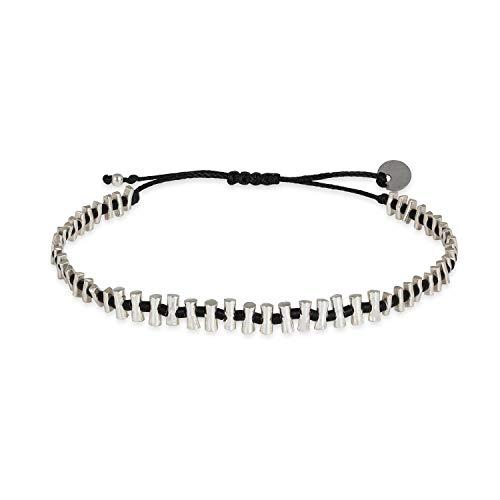 LeJu London Armband Herren Silber Sticks - Schwarzes Polyester Band Reißfest Wasserbeständig Variable Länge - Passt an jedes Handgelenk - BAMBU01