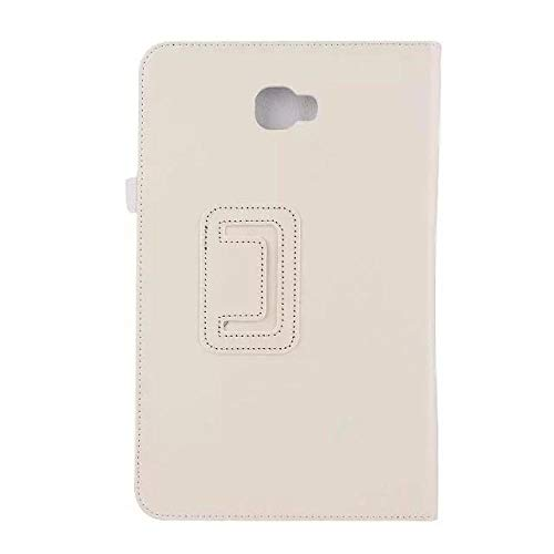 YYLKKB For Samsung Galaxy Tab A6 10.1 2016 Flip Stand Tablet Cover For Coque Samsung SM-T580 SM-T585 T580 Solid Fundas Tablet Case-White_SM-T580 SM-T585