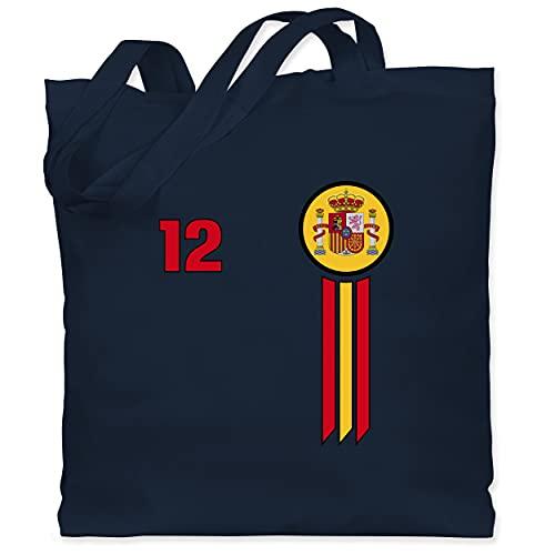 Shirtracer Fussball EM 2021 Fanartikel - 12. Mann Spanien Emblem - Unisize - Navy Blau - Fun - WM101 - Stoffbeutel aus Baumwolle Jutebeutel lange Henkel