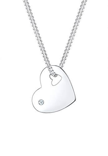 DIAMORE Halskette Damen Herz Anhänger Symbol Solitär edel mit Diamant (0.02 ct.) in 925 Sterling Silber