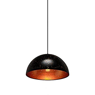 MOTINI Modern Pendant Light Dome Hanging Lights Adjustable Height Industrial Hollow Lighting Fixture in Black for Kitchen Island, Dining Room
