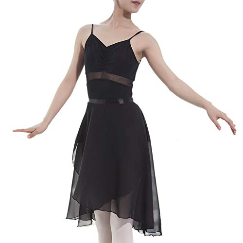 GOGO TEAM Ballettrock Transparent Wickelrock Balletttanz Tanzkleidung Erwachsene -Black-M