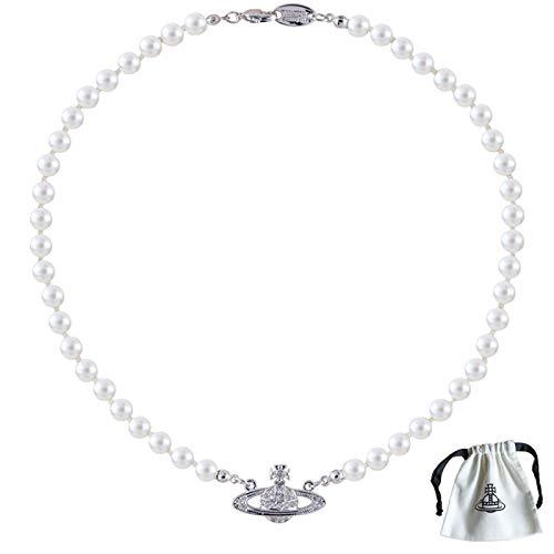 Collar Planeta Saturno, Collares de Perla Blanca Saturno El Mejor Regalo para Mujeres Niñas Amigas Novias Hijas Madres (Plata)