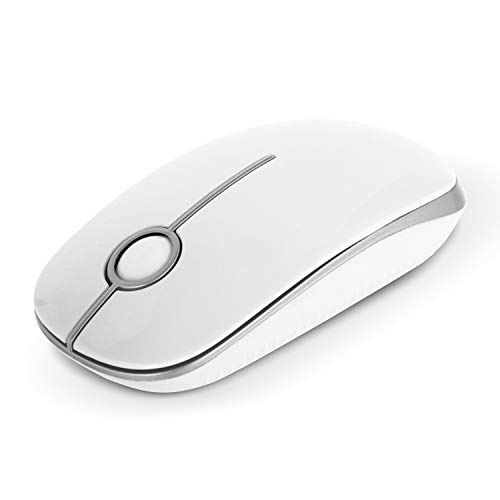 Wireless Mouse, Jelly Comb MS001 2.4G Computer Mice with Nano Receiver for PC/Desktop/Laptop (with USB ports) and Windows/Mac/Linux, Silent & Smooth, Basic Design (White and Silver)