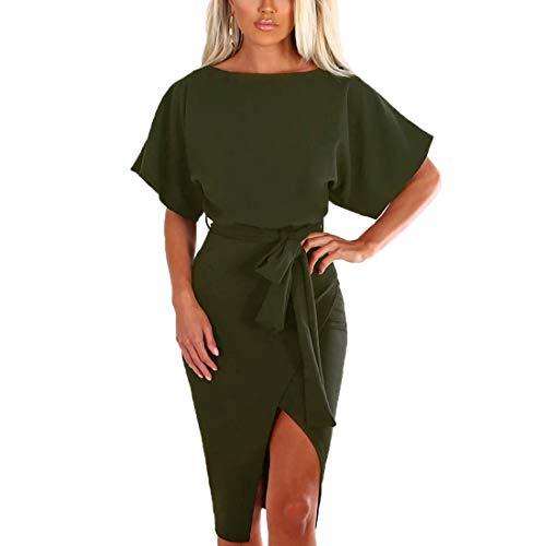 Ajpguot Damen Kleid Rundhals Kurzarm Sommerkleid Asymmetrisch Schlitz Strandkleid Einfarbig Knielang Kleider Freizeitkleid mit Gürtel Partykleid (Armeegrün, S)