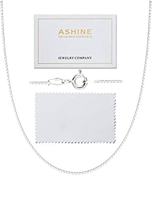 ASHINE Sterling Silver Chain Necklace for Women Men 1mm Box Chain Spring Ring Clasp 18 Inches