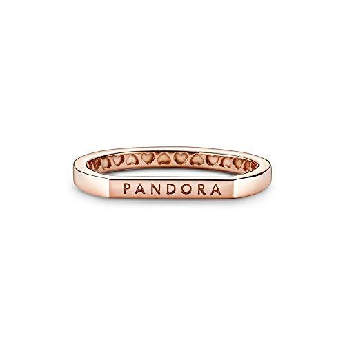 Pandora Anillo de plata de ley con logotipo en oro rosa, talla 48