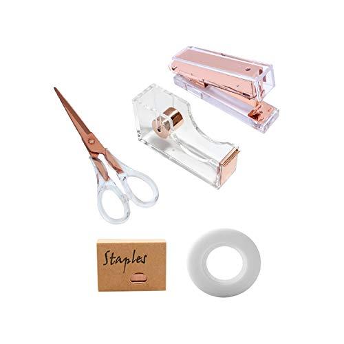 """Acrylic Clear Rose Gold Stapler Tape Dispenser Scissors Set Heavy Duty Office Desk Stapler Tape Cutter Dispenser with 6.3"""" Black Scissors Office Supplies Stationery Desk Set for Home, Office N School"""