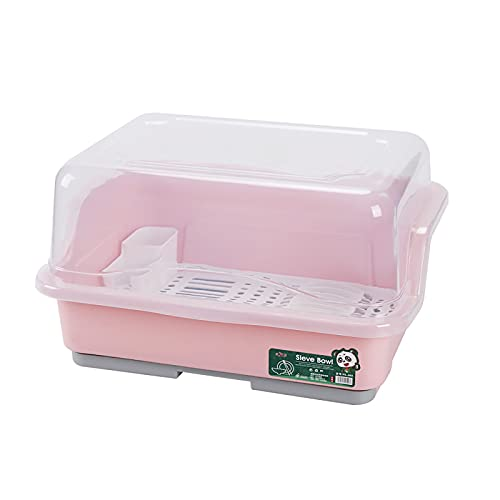 QYQS Household plastic drain dish rack with lid kitchen shelf tableware storage box,Pink,XL