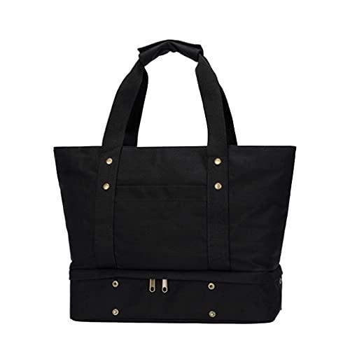 ZHONGTAI Bolso de Lona de Viaje de Lienzo con Compartimiento de Zapatos Grande Weekender Overnight Bag para Mujer Hombre Aeroplano Negocio Corto Viaje (Color : Black)