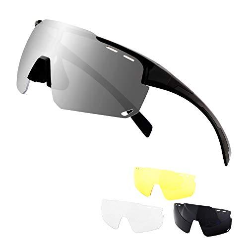 DUDUKING Occhiali da Sole Sportivi Polarizzati,Grande Schermo Occhiali Ciclismo Anti-UV 400 Protezione Occhiali da Sole con 3 Lenti Intercambiabili, Uomo Donna per Corsa, Moto, MTB e Running (Nero)