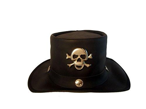 H15 Zylinder mit Skull Steampunk Style Lederhut aus hochwertigem Rinderleder (XL)