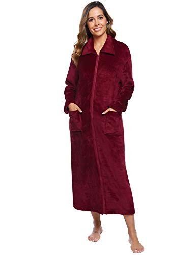 iClosam Robe de Chambre Femme Polaire, Peignoir Femme Fermeture Eclair avec 2 Poches Robe de Chambre Femme Zippée Longue Hiver Chaud Grand Taille Bordeaux S