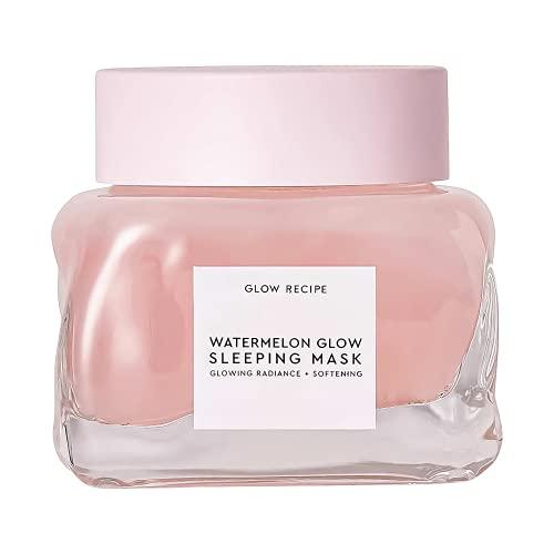 Glow Recipe Watermelon Glow - Máscara de dormir exfoliante, antienvejecimiento, máscara facial brillante con AHA, ácido hialurónico + extracto de semilla de calabaza para piel sensible, máscara hidratante (80 ml/2.5 oz)