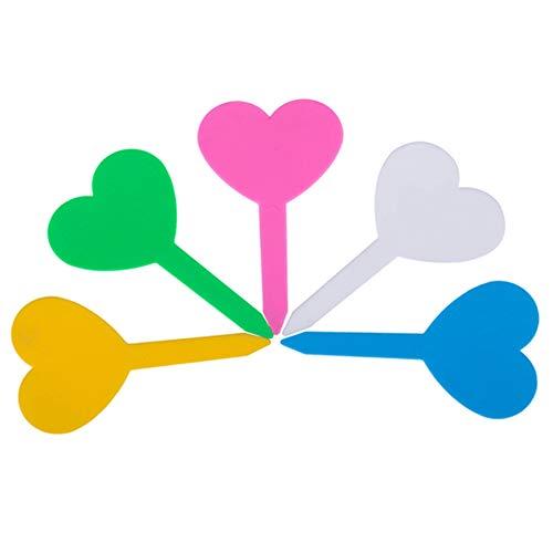 DierCosy Impianto Marker 50Pcs plastica del Cuore a Forma di Nome Tag Giardinaggio pianta del Fiore Nursery Etichette marcatori