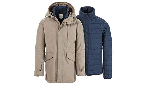 Timberland A1MZ8-037 Parka Man Fishtail 3-in-1 Sand Grey Dryvent Waterproof, Parka XXL