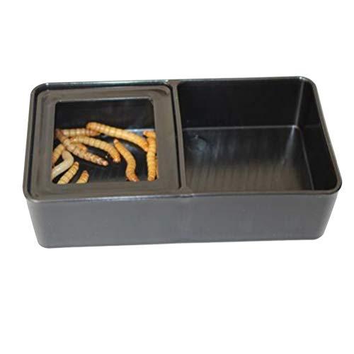 POPETPOP Cuencos de Comida Doble para Reptiles, Alimentador Rectangular de Plástico, Suministros de Alimentación de Cuenca para Tortuga Lagartija Gecko Camaleón (Negro)