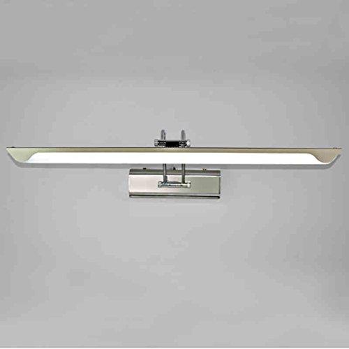 Lámpara Espejo de luz, Led minimalista moderno Cuarto de baño Espejo de baño Lámpara de acero inoxidable Tocador de baño Espejo de maquillaje Gabinete Lámpara de pared Luces de baño